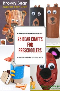 Most kids I know love crafting, and these bear crafts for kindergarten and preschool will go great with all of your bear themed units and activities. Check out all 19 ideas! Bear Crafts Preschool, Trains Preschool, Cute Kids Crafts, Kindergarten Crafts, Craft Projects For Kids, Toddler Crafts, Crafts For Teens, Classroom Crafts, Fall Crafts