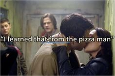 """cas kissing meg """"i learned that from the pizza man"""" #notagif"""