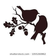 Designs Discover Immagine vettoriale stock 125979461 a tema Pattern Birds Seamless (royalty free) Pare of birds sitting on twig of oak. Bird Stencil, Stencil Art, Stencils, Vogel Silhouette, Animal Silhouette, Stencil Patterns, Embroidery Patterns, Wall Painting Decor, Art Decor