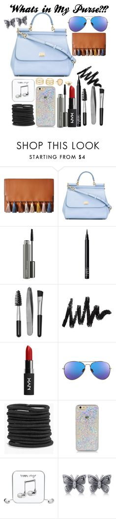 """""""Whats in my Purse?!?!"""" by izzy5353 ❤ liked on Polyvore featuring Rebecca Minkoff, Dolce&Gabbana, MAC Cosmetics, NARS Cosmetics, Sephora Collection, Boohoo, Happy Plugs, Allurez and LULUS"""
