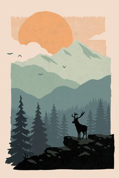 really cool drawings Art And Illustration, Mountain Illustration, People Illustration, Illustrations Posters, Painting Inspiration, Art Inspo, Design Inspiration, Minimal Art, Minimal Drawings