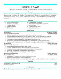 Bookkeeper Resume Sample Summary Creative Resume Design Templates