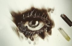 Fire and wax  #pyrography #fire painting #eye #fireworks