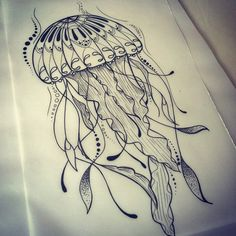 A4 laminated jellyfish art design by CreepyMelonPrints on Etsy