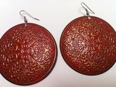 Vintage Earrings Red and Bronze Colored Stamped Metal Mexico