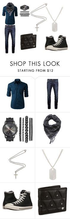 """Alec La'Ahad 4"" by tmntwolfie ❤ liked on Polyvore featuring LE3NO, Jack & Jones, Marco Ta Moko, Loren Stewart, Converse, Versace, men's fashion, menswear and OC"