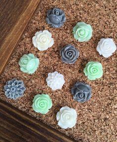 Push Pins, Decorative Tacks Set, Mint Green Decor, Teenage Girl Gift, Decorative Thumb Tacks, Pushpins, Gifts under 10, Office Cubicle Decor