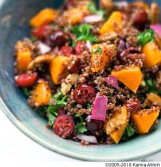 Red Quinoa with Roasted Butternut Squash Cranberries and Pecans