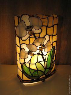 """Купить Лампа """"Белая орхидея"""" - настольная лампа, орхидея, тиффани, Витраж, интерьер, стекло, подарок"""