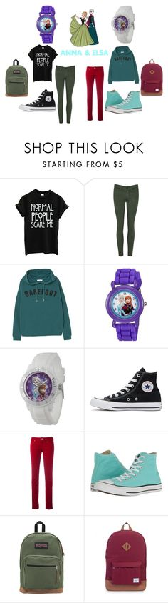 """Anna & Elsa"" by disney202 on Polyvore featuring Disney, MANGO, Converse, Armani Jeans, JanSport and Herschel Supply Co."
