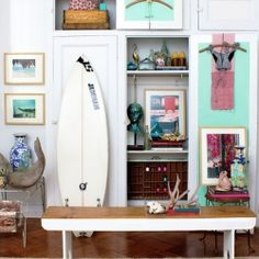 Inspired by summers in Montauk, a dressing area that reads surfer chic!