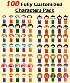 Every Characters Support 100% Fully Customization. This Pack Include Various Types of Different characters( Men & Women), Facial Expressions, Hair Styles, Different cloths, Different Colors, and Different Moods. The Characters Available in Ai, CDR and EPS File Types. These Little Characters Suitable for Logos, Social Profile Pictures, Greeting Cards, Invitation Cards, Business Cards.Avatars and Many More....