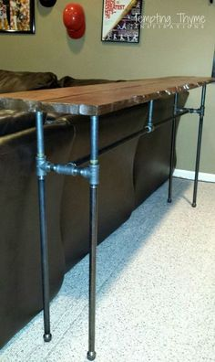 diy industrial pipe sofa table, diy, how to, painted furniture, repurposing upcycling, rustic furniture