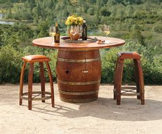 Napa Style Barrel Bistro Bar - this will allow me to continue Napa in my own backyard! Wine Barrel Furniture, Outdoor Furniture Sets, Outdoor Decor, Outdoor Stuff, Outdoor Seating, Wine Barrel Bar Stools, Wine Barrels, Cabana, Napa Style