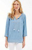 plus size Tencel® indigo embroidered top | J.Jill