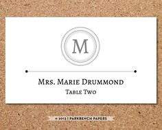Place Card Template - Classic Monogram Design -  DIY Editable Word Template Instant Download Printable