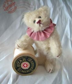 About: A lovely unique bear. Made of white distressed mohair. He wears a mauve ribbon circus ruffle and nothing else, so as to enjoy the loveliness of his form. Hand Made in the USA ~ One-of-a-Kind ~ OOAK. Bear Signs, Charlie Bears, Bear Art, Toy Collector, Designer Toys, Roosevelt, Teddy Bears, Miniatures, Artist