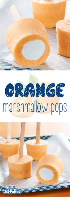 For fun, fruity frozen dessert pops, all you need are marshmallows, ice cream, JELL-O Gelatin and orange juice—and 15 minutes to put it all together. Mini Desserts, Frozen Desserts, Summer Desserts, Frozen Treats, Just Desserts, Delicious Desserts, Yummy Food, Oreo Dessert, Summer Snacks