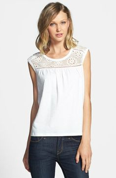 Two by Vince Camuto Eyelet Mesh Top available at #Nordstrom
