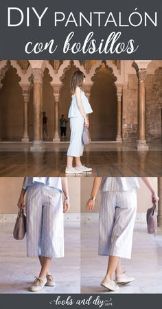 How to make pants with pockets step by step - How to make a culotte pants with step by step pockets, perfect and very comfortable for this spring - Simple Dress Pattern, Dress Patterns, Sewing Patterns, Handmade Clothes, Diy Clothes, Diy Fashion, Fashion Outfits, Fashion Design, Culotte Pants