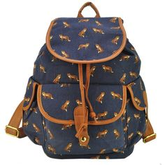86baf19e70 Magic Pieces Women s Full Fox and Swallows Print Canvas School Bag Travel  Backpack 042325 0801J Backpack