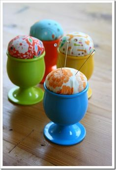 Egg Cup pin cushion. So cute to have on your dresser to catch those stray pins that come on clothing or to keep that safety pin that you need just in case! http://sometimescrafter.blogspot.com/2009/04/tutorial-egg-cup-pincushion.html