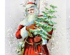 Austrian Santa on Antique Walnut Ornament