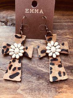 Leopard Print Faux Hide Cross Earrings on Mercari Diy Leather Earrings, Diy Earrings, Leather Jewelry, Leather Craft, Wooden Earrings, Western Earrings, Cross Earrings, Fabric Jewelry, Lace Jewelry