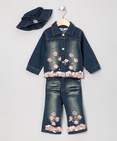 Take a look at this Dark Denim Rosette Jacket Set - Infant & Toddler on zulily today!