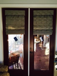Cordless knife pleat roman shades for French doors. Available at Budget Blinds & Window Treatments for French Doors : Roman Shades For French Doors ... Pezcame.Com