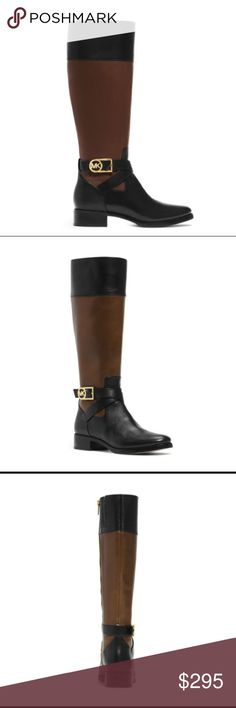 """Michael Kors Bryce Black Mocha Tall Boots The Bryce tall boots from MICHAEL Michael Kors shape up in rich vachetta leather accented with crisscross straps and an MK signature logo plaque. Vachetta leather upper Rounded closed-toe tall boots Side zipper Shaft: 15"""" height, 13-8/10"""" circumference 1"""" heel Rubber sole Please note: Shaft height and circumference may vary by size.👗Fab Ab's Closet; Re-styled Resale👗 🎀15% OFF 2+ ITEM BUNDLE🎀 😊PLEASE USE OFFER BUTTON ❌NO PP, TRADES, HOLDS❌…"""
