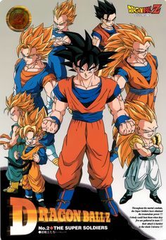 Goku, Vegeta, Vegito, Goten, Trunks, Gotenks, and Gohan