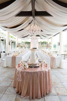 Monarch Beach Resort - Luxury Glam Wedding at Monarch Beach Resort Glitter Glam wedding! Cor Rose Gold, Rose Gold Table, Luxury Wedding, Dream Wedding, Trendy Wedding, Wedding Bride, Perfect Wedding, Wedding Week, Wedding Beach