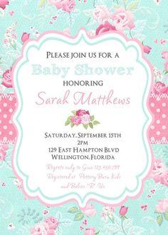 Casa Chic bebé ducha invitación victoriana flores por 3PeasPrints