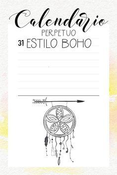 Calendario Perpetuo Imprimible Estilo Boho Bullet Journal en Español Imprimible - Formato A4 PDF 2 dias por pagina