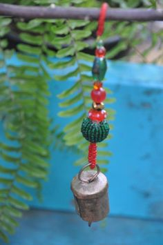 Christmas Tree Boho Bell Ornaments decoration-set of 6 Hallmark Christmas Ornaments, Handmade Christmas, Holiday Tree, Christmas Tree Decorations, Beads After Beads, Natural Christmas, Christmas Stuff, Glass Wind Chimes, Beaded Ornaments