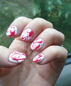 Blood splatter gel manicure