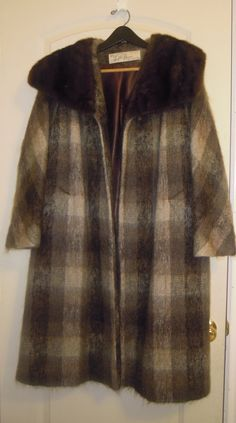 Vintage 1950s Mohair Coat Lilli Ann Paris Wool Mink Brown Size Large to Xlarge