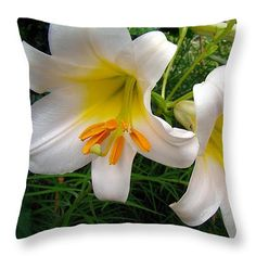 "Lily Duet 14"" x 14"" Throw Pillow by Sue Melvin.  Our throw pillows are made from 100% cotton fabric and add a stylish statement to any room.  Pillows are available in sizes from 14"" x 14"" up to 26"" x 26"".  Each pillow is printed on both sides (same image) and includes a concealed zipper and removable insert (if selected) for easy cleaning."