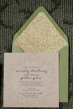 Wedding Invitations | Glittered Envelope Liners
