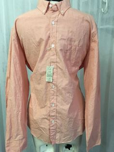 J. Crew Luxurious Men's Slim Fit Salmon Button Up Shirt Size XL NWT $65 #JCrew