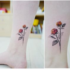 Cloudberry ankle tattoo  |  Artist: @tattoist_banul  |  Seoul, Korea