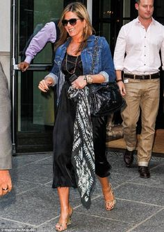 Jennifer Aniston wearing Rolex Day Date Presidential Wristwatch with Champagne Stick Dial, Oliver Peoples Xxv Sunglasses, AG Adriano Goldschmied the Robyn Denim Jacket, Bottega Veneta Python Wedge Sandals and Chanel Fall 2013 Vintage Quilted Bag. Jennifer Aniston News, Jennifer Aniston Pictures, Jeniffer Aniston, Hollywood, Black Sunglasses, Sarah Jessica Parker, Casual Chic, How To Wear, Clothes