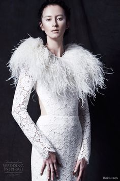 I would replace the shrug with my own furs from hunting and trapping (silver squirrel and white rabbit)- houghton wedding dresses fall 2013 chante long sleeve lace gown cutout ophelia ostrich feather shrug