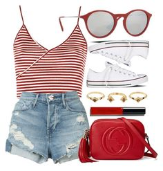 """Little Mix"" by smartbuyglasses ❤ liked on Polyvore featuring Topshop, 3x1, Ray-Ban, Gucci, Converse, House of Harlow 1960, Bobbi Brown Cosmetics and red"