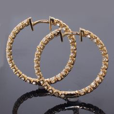 Shop for Gold 2 TDW Diamond Inside-out Hoop Earrings. Get free delivery On EVERYTHING* Overstock - Your Online Jewelry Destination! Gold Diamond Earrings, Diamond Jewelry, 2 Carat, Bangles, Bracelets, Round Cut Diamond, Collaboration, Compliments, Jewelry Watches