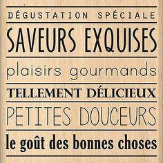 Du Fond du Cœur - Tampon Bois - Saveurs Exquises - 7,2 x 7,2 cm Scrapbooking Pas Cher, Kitchen Quotes, Tampons, Saveur, Journal Cards, Texts, Poems, Miniatures, Printables