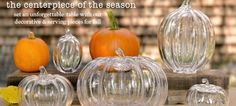 Beautiful glass pumpkins from Simon Pearce to get you in the Halloween and autumn mood.