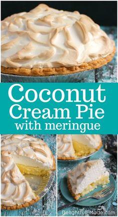 The coconut meringue pie of your dreams! This Coconut Cream Pie recipe is made with a gorgeous meringue and perfectly creamy coconut custard filling. Coconut Meringue Pie, Best Coconut Cream Pie, Coconut Pudding, Meringue Recipe For Pie Without Cream Of Tartar, Best Coconut Custard Pie Recipe, Coconut Pie Recipes, Best Meringue Recipe, Coconut Cream Dessert, Sugar Cream Pie Recipe
