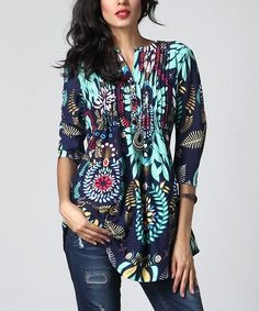 Blue Floral Notch Neck Pin-Tuck Tunic by Reborn Collection #zulily #zulilyfinds